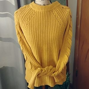 Time and Tru Chunky Lace Up Sweater in Mustard